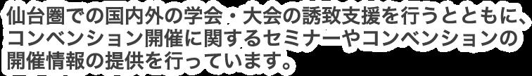 仙台圏での国内外の学会・大会の誘致支援を行うとともに、コンベンション開催に関するセミナーやコンベンションの開催情報の提供を行っています。